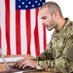 Soldier using a laptop to job search
