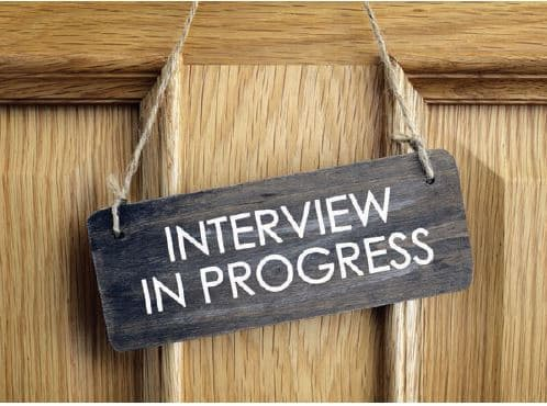interview sign on door