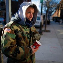 Homeless Veteran on the street in the cold