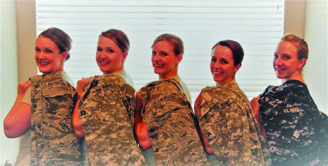 Five Military enlisted Sisters pose in a row