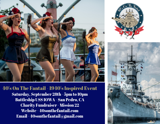 40s on the fantail event poster with details and image of Battleship IOWA