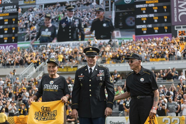 World War ll veterans on the field being honored at Steelers Game