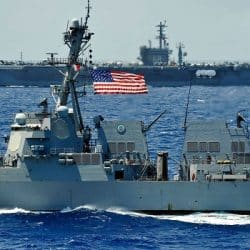 U.S. Navy ship pictured off the coast