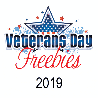 Veterans Day Freebies text with image of a patriotic star