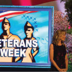 Wheel of Fortune Veterans Week promo picture with Pat Sajak and Vanna White pictured next to it