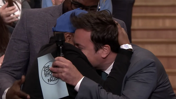 Jimmy Fallon hugs military souse on the Tonight Show
