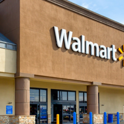 Walmart store front pictured