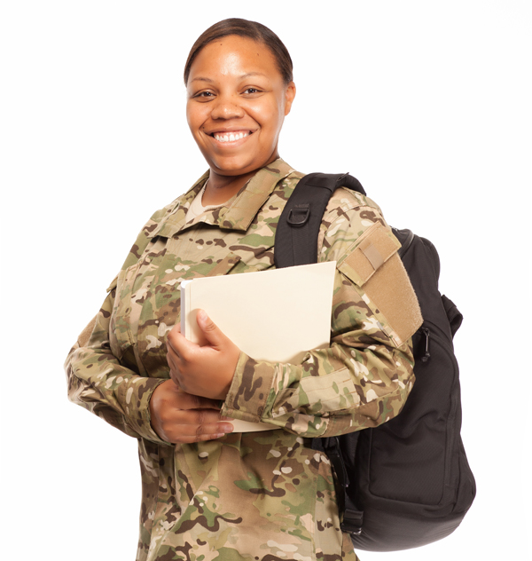 Black female army soldier with backpack and books