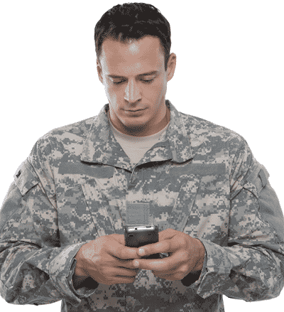 U.S. veteran job searching on phone