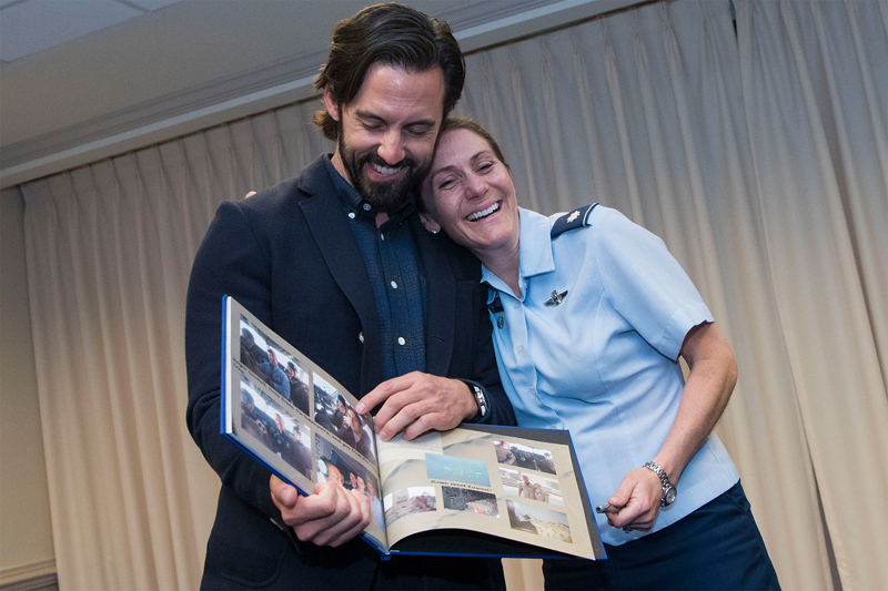Actor Milo Ventimiglia laughs with Air Force Lt. Col. Elizabeth H. Scott during a visit to the Pentagon
