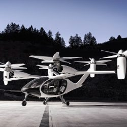 Helicopter like flying car is pictured on a runway