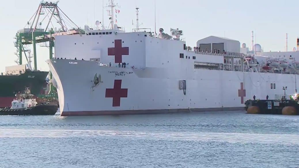 USNS-Mercy docks in Los Angeles