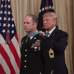 President Donald J. Trump presents the Medal of Honor to U.S. Army Master Sgt. Matthew Williams